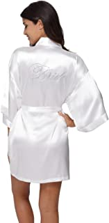 The Bund Women's Short Bride Bridesmaid Kimono Robes for Wedding Party
