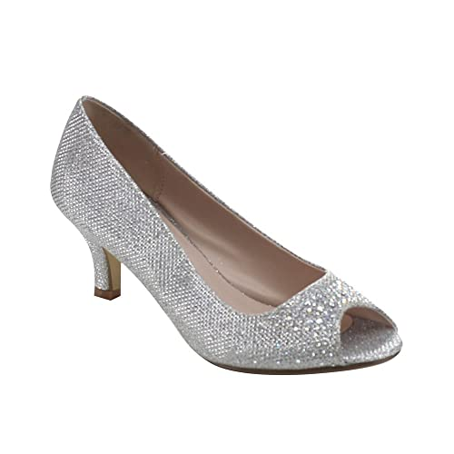 65f6eabe1 Bonnibel Wonda-2 Womens Peep Toe Low Heel Dress Pumps
