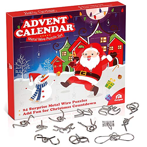 Coogam Metal Wire Puzzle Toys Advent Calendar, 2020 Christmas Countdown Calendar Decoration Gift Box Set of 24pcs Brain Teaser Toy for Count Down Xmas Holiday Décor Party Favor Kids Adults Challenge