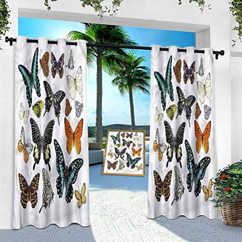 Aishare Store Patio Outdoor Curtain, Butterfly,Colorful Vibrant Wings, W 100' x L 84' Heavy Duty Indoor Panel for Porch Balcony Pergola Canopy Tent Gazebo Window(1 Panel)