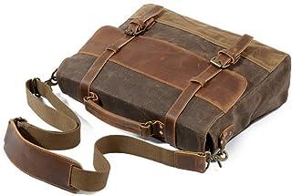 MENNY Mens Messenger Bag 15.6 Inch Waterproof Canvas Leather Waxed Canvas Briefcase Vintage Leather Computer Laptop Bag Satchel