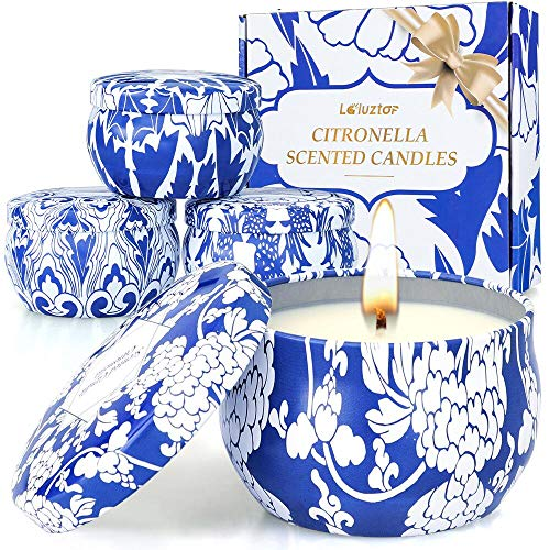 Laluztop Citronella Candles Outdoor and Indoor - 4.8 Ounce Scented Candles Pure Soy Wax Portable Travel Tin Candle for Stress Relief, 4 Pack