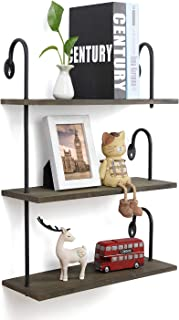 Olakee Floating Shelves Wall Mounted 3 Tier Rustic Wall Shelves for Decor and Storage at Bedroom Kitchen Bathroom Weathered Grey