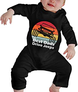 The Best Dads Drive Jeeps Baby Girls Long Sleeve Romper Jumpsuit Bodysuits