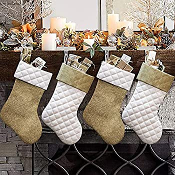 Ivenf Christmas Stockings 4 Pcs 18 inches Burlap Cotton Quilted Thick Luxury Stockings for Family Holiday Xmas Party Decorations