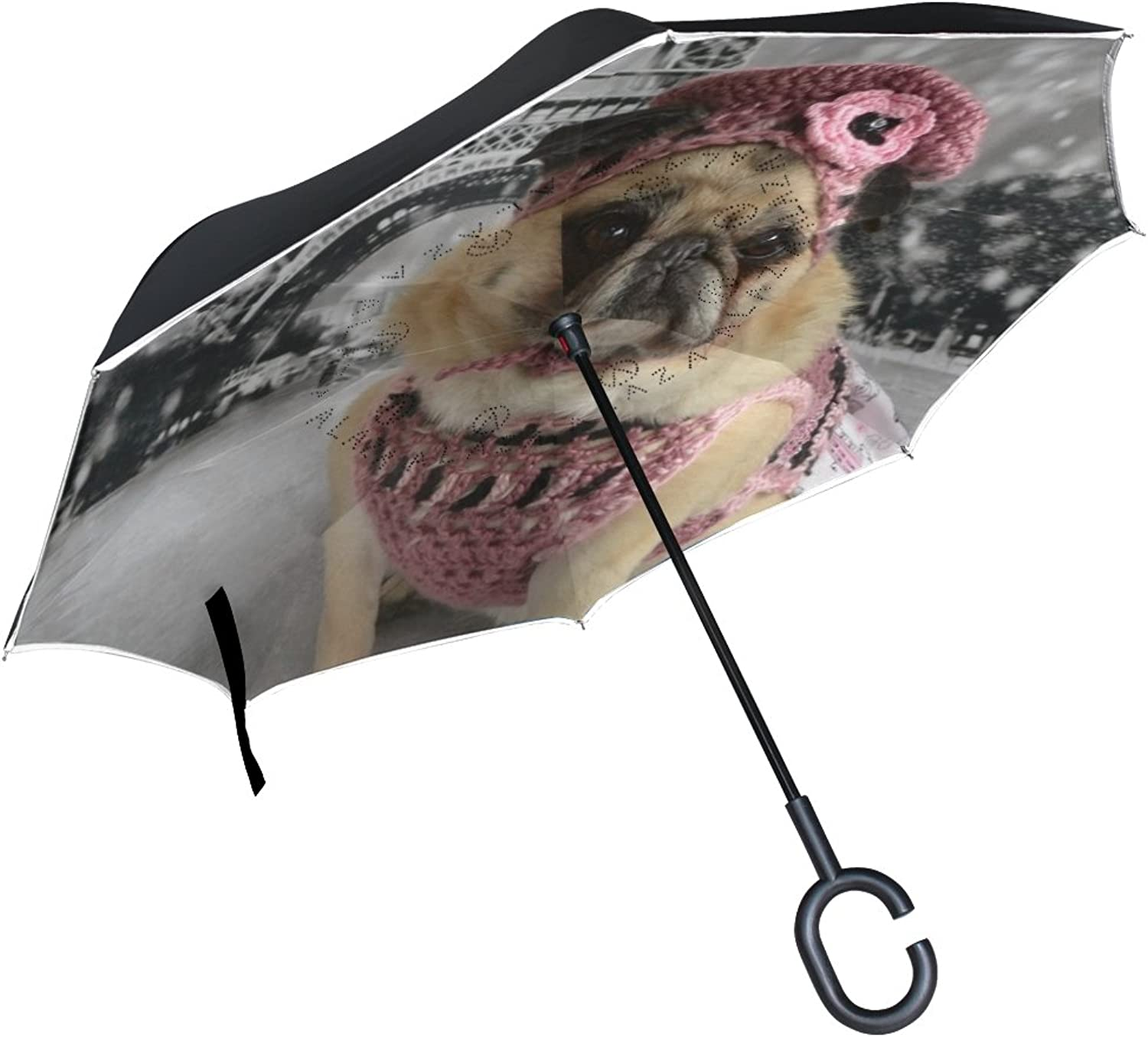 OREZI Double Layer Ingreened Umbrellas Reverse Folding Umbrella Windproof Predection Big Straight Umbrella for Car Rain Outdoor with CShaped Handle,Fawn Pug with Eiffel Tower Umbrella for Wome