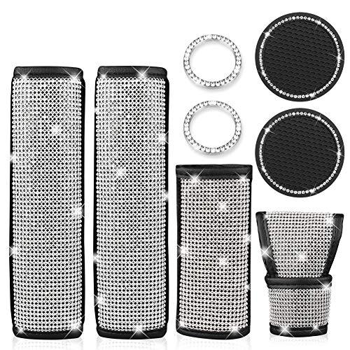 2 confezioni di spalline per cintura di sicurezza universali in pelle con diamanti Bling Bling, copertura del freno a mano in cristallo, sottobicchiere per auto Bling, anello di avvio chiave
