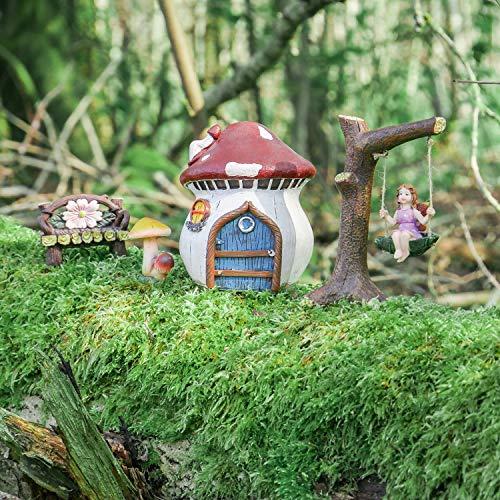 Homezone 4pc Magisch Fee Garten Dekoration Set Mystisch Fee Figur Set Garten Fee Landschaft Haus Pilze Tisch Fee Seil Schaukel