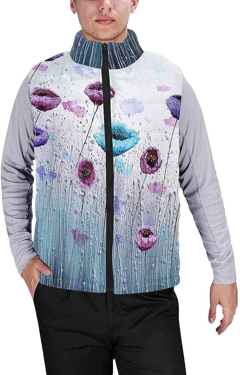 InterestPrint Men's Soft Full Zip Sleeveless Jacket for Running, Hiking Water Drops an White Background