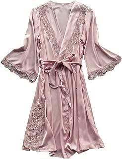 Swyss Women's Rose Lace Trim Kimono Robe Nightwear Nightgown Sleepwear Satin Robe with Belt