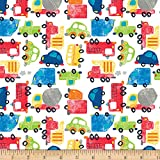 Fabric Editions Exclusive 36'' x 42'' Pre-Cut Cars and Trucks Flannel, White Each