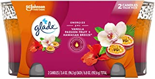 Glade 2in1 Jar Candle Air Freshener, Hawaiian Breeze and Vanilla Passion Fruit, 2 candles, 6.8 oz