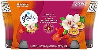 Glade 2in1 Jar Candle Air Freshener, Hawaiian Breeze & Vanilla Passion Fruit, 2 Candles, 6.8 oz