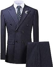 Vincent Bridal Men's Slim Fit 3 Piece Dress Suit Double Breasted Pinstripe Tuxedo Wedding Party Jacket Vest & Pants