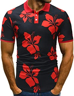 ZOMUSAR Mens Summer Slim Fit Floral Print Buttons Down Polo Shirts Contrast Collar Short Sleeve Polo Casual T-Shirts