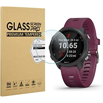 3 Pack Forerunner 245 Music 2.5D Arc Edges 9 Hardness HD Anti-Scratch Bubble-Free Lifetime Replacement Orzero Tempered Glass Screen Protector Compatible for Garmin Forerunner 245