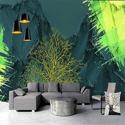 PSiFound Pegatinas De Pared Etiqueta De La Pared Decoración 3D Moderno Dorado Vegetal Pintura Al Óleo. (200X150Cm) Vinilo Papel Pintado Adhesivo Mural Para Dormitorios Salones Hogar Pegatina De Pared
