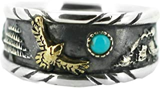 Aienid Turquoise Ring Sterling Silver 925 Rings for Men Personalized Classic Bands Vintage Gold Eagle