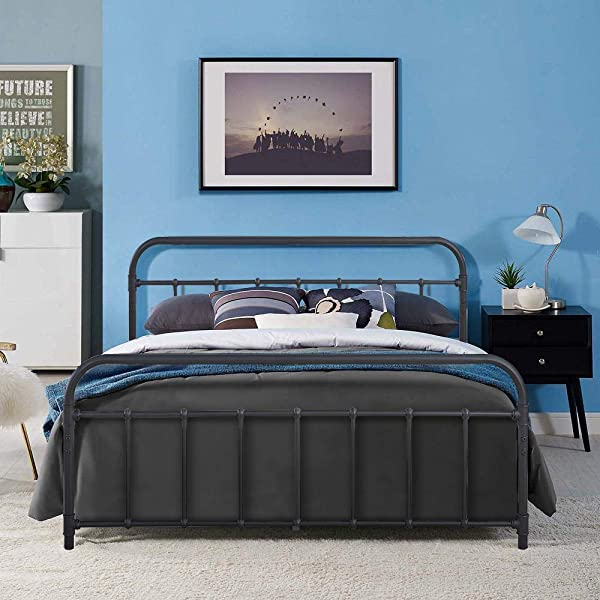 RaniDream Victorian Vintage Style Queen Size Metal Bed Platform Frame With Headboard And Footboard Metal Slat Support Box Spring Replacement For Kids Adult Beds Black