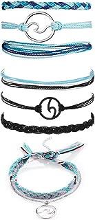 WLLAY VSCO Bracelet Wave Anklet Bracelet Women Boho Handmade Adjustable Waterproof Ocean Wave Braided Rope Strand Bracelet Set