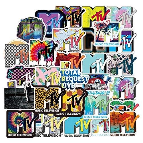 DSSJ 50 Piezas de Pegatinas de Maleta MTV, estación de Radio MTV Personalidad, Resistente al Desgaste, Resistente al Agua y Protector Solar, Soporte para Coche, Guitarra, portátil