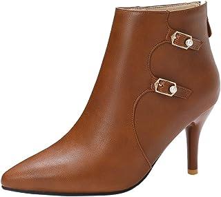 FANIMILA Women Fashion Pointed Toe Booties Stiletto Heels Zip