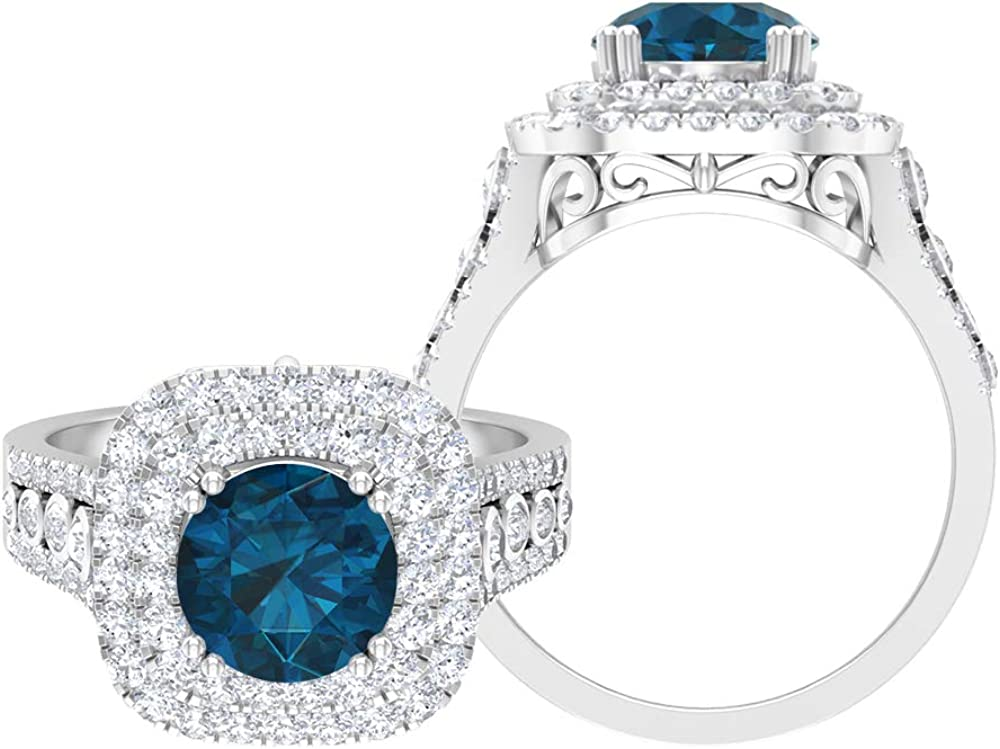 3.35 CT London Blue Topaz D-VSSI Max 89% OFF Ring Mail order Doub Solitaire Moissanite