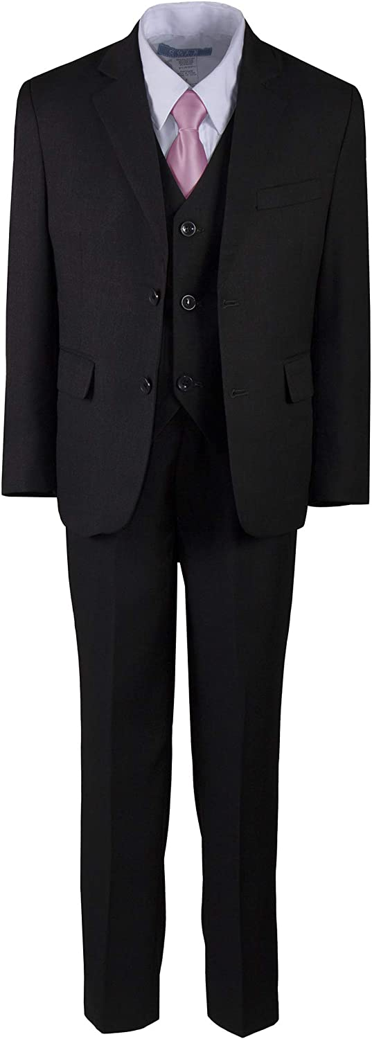 Tuxgear Boys Charcoal Grey 2 Button Suit with Neck Tie and Pocket Square