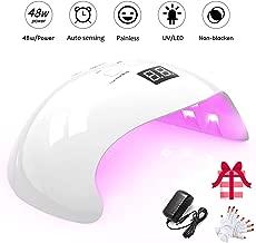 Lámpara UV Profesional, 48W Lampara Led Uñas Profesional con temporizador, Sensor para uñas de gel y Toe Nail Curing 21 Leds
