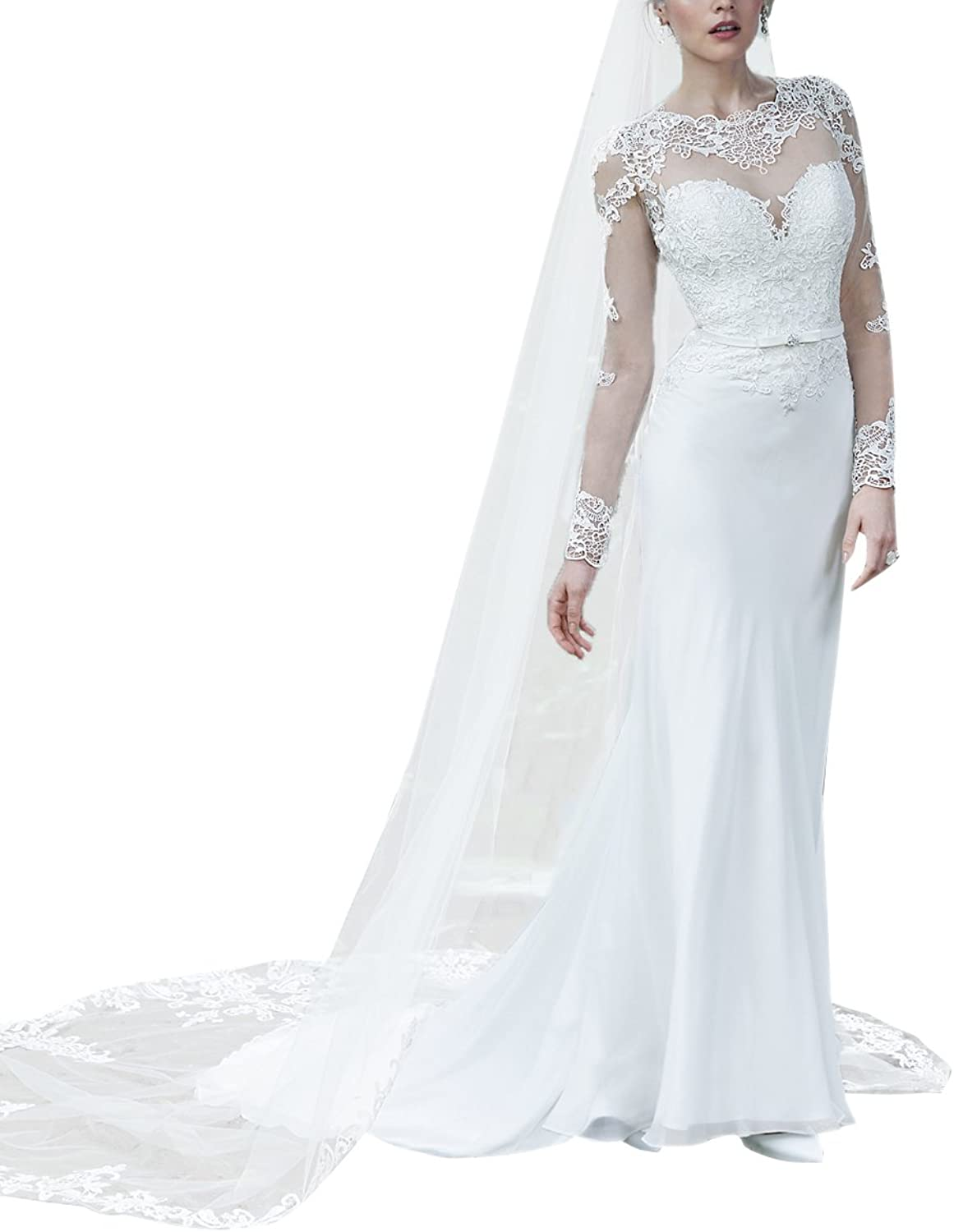 SecretCastle Women's Shealth Lace Bridal Gown Wedding Dresses with Fulllength Illusion Sleeves