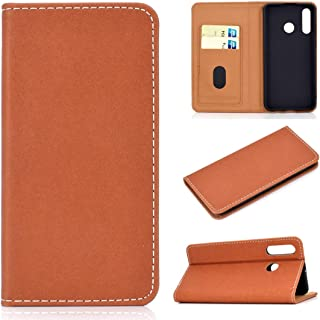 For Huawei P30 Lite Solid Color Magnetic Horizontal Flip Leather Case with Card Slot & Holder New (Black) Lipangp (Color : Brown)