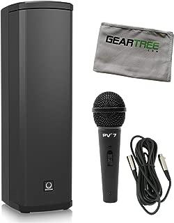 TurbosoundIP300 600 Watt Powered Column Loudspeaker w/cleaning cloth, mic, and