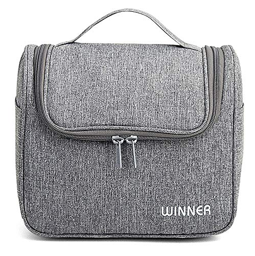 Toiletry Bag WINNER Hanging Travel Wash Bag Cosmetic Bag Made of High-Quality Waterproof Fabric for Men and Women in Gym/Travel/Family (Grey)