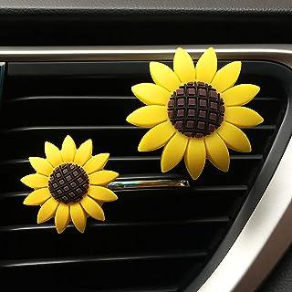 2xPACK Sunflower Car Accessories Cute Car Air Freshener Sunflower Air Vent Clips Automotive Interior Trim Girasoles Car De...