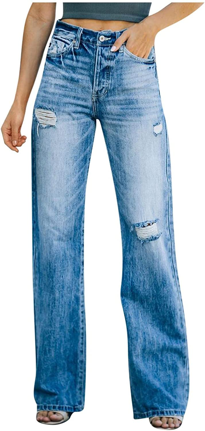 Womens Jeans Button Mid-Waist Stretch Casual Hole Denim Pants Classic Fit Baggy Wide Leg Jeans Trousers with Pocket
