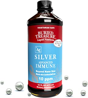 Buried Treasure Silver Advanced Immune 10 PPM Silver for Adults and Kids, 16oz 96 Servings Nano Particle Non Accumulative ...