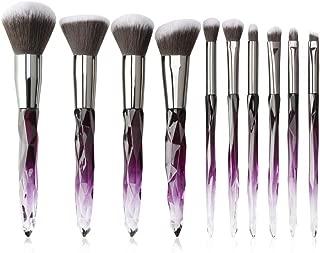 Makeup Brushes Crystal Handle Set, Tenmon 10 PCS Crystal Transparent Handle Kabuki Powder Foundation Brush Concealer Eye Shadow Eyeliner Eyebrow Brush (Purple)