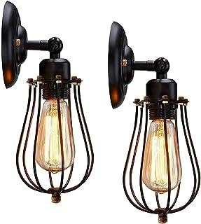 2 Pack Applique Murale Industrielle, Ajustable Rétro Metal Murale Applique Noir E27 Abat-jour Cage Lampe Murale, Vintage S...