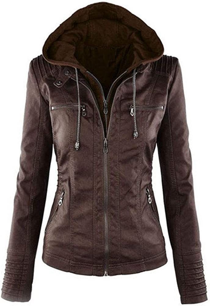 JUNE Women's Solid Zip Up Jackets PU Leather Hooded Coats Plus Size