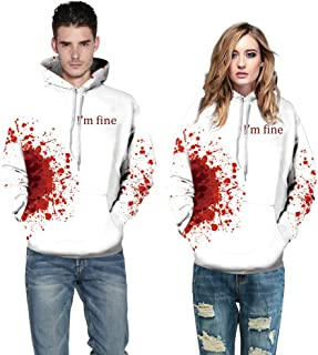 Auwer Halloween Hoodies All Souls Day 3D Funny Print Jumper Sweaters Couple Punk Skull Top Streetwear
