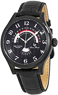 Lucien Piccard Men's The The Capital Stainless Steel Japanese-Quartz Watch with Leather Calfskin Strap, Black, 22 (Model: LP-40050-BB-01)