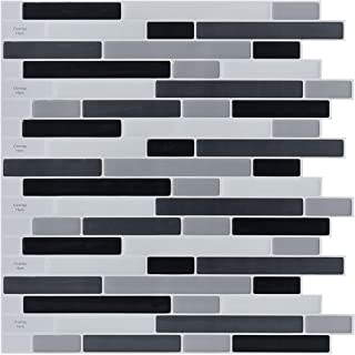 10-Sheets Peel and Stick Backsplash Tile, 3D Self-Adhesive Tile Stickers for Kitchen, Bathroom, Counter Top, Mirror Background, Grey-Black-White