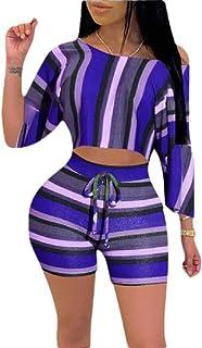 desolateness Women's 2 Piece Outfit Striped Print T Shirt Top Bodycon Shorts Set Romper Shorts Clubwear