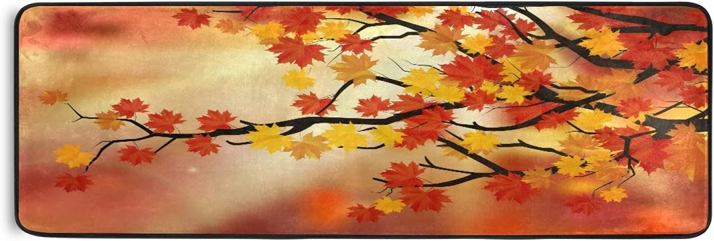 Autumn Recommended Maple Leaves Runner Rug Fall Manufacturer OFFicial shop Orange Red Leave Lau Kitchen