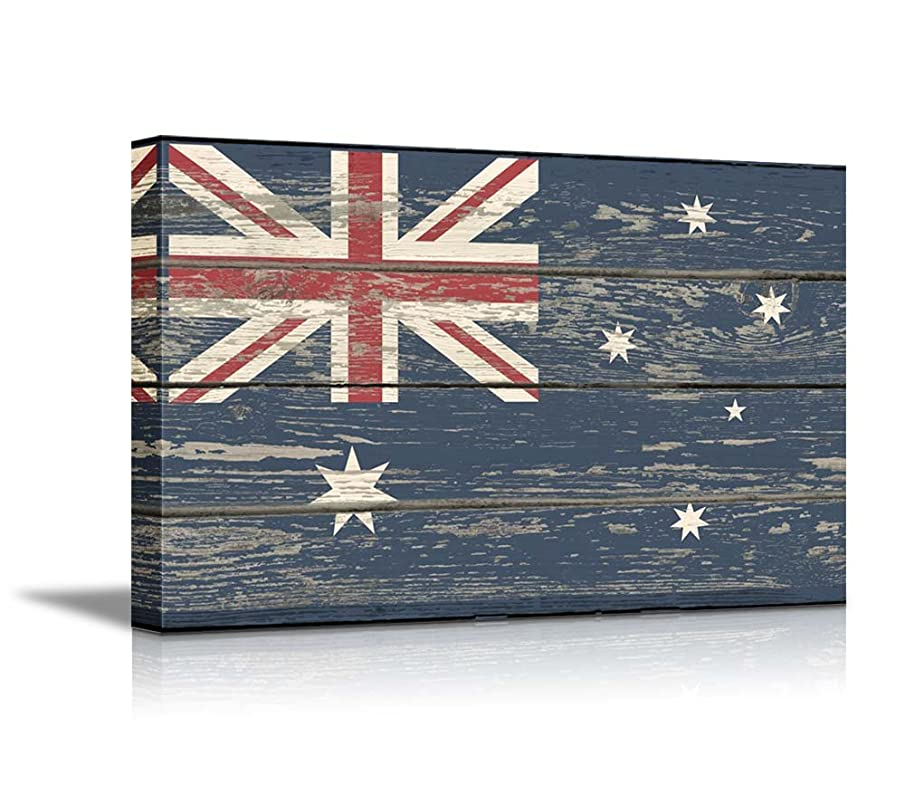 wall26 - Canvas Prints Wall Art - Flag of Australia on Vintage Wood Board Background Stretched Canvas Wrap. Ready to Hang - 24
