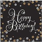 AMSCAN Frizzante Celebrazione Tovaglioli Happy Birthday Nero e Oro - Confezione da 16