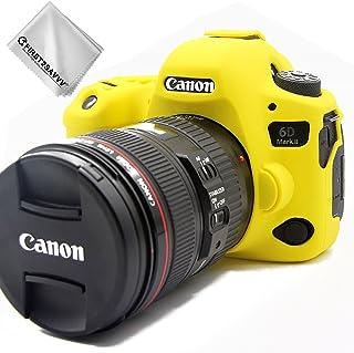 First2savvv amarillo cuerpo completo caucho de TPU funda estuche Silicona para cámara para Canon EOS 6D Mark II 6D MK II + paño de limpieza XJPT-6D Mark II-GJ-13G11