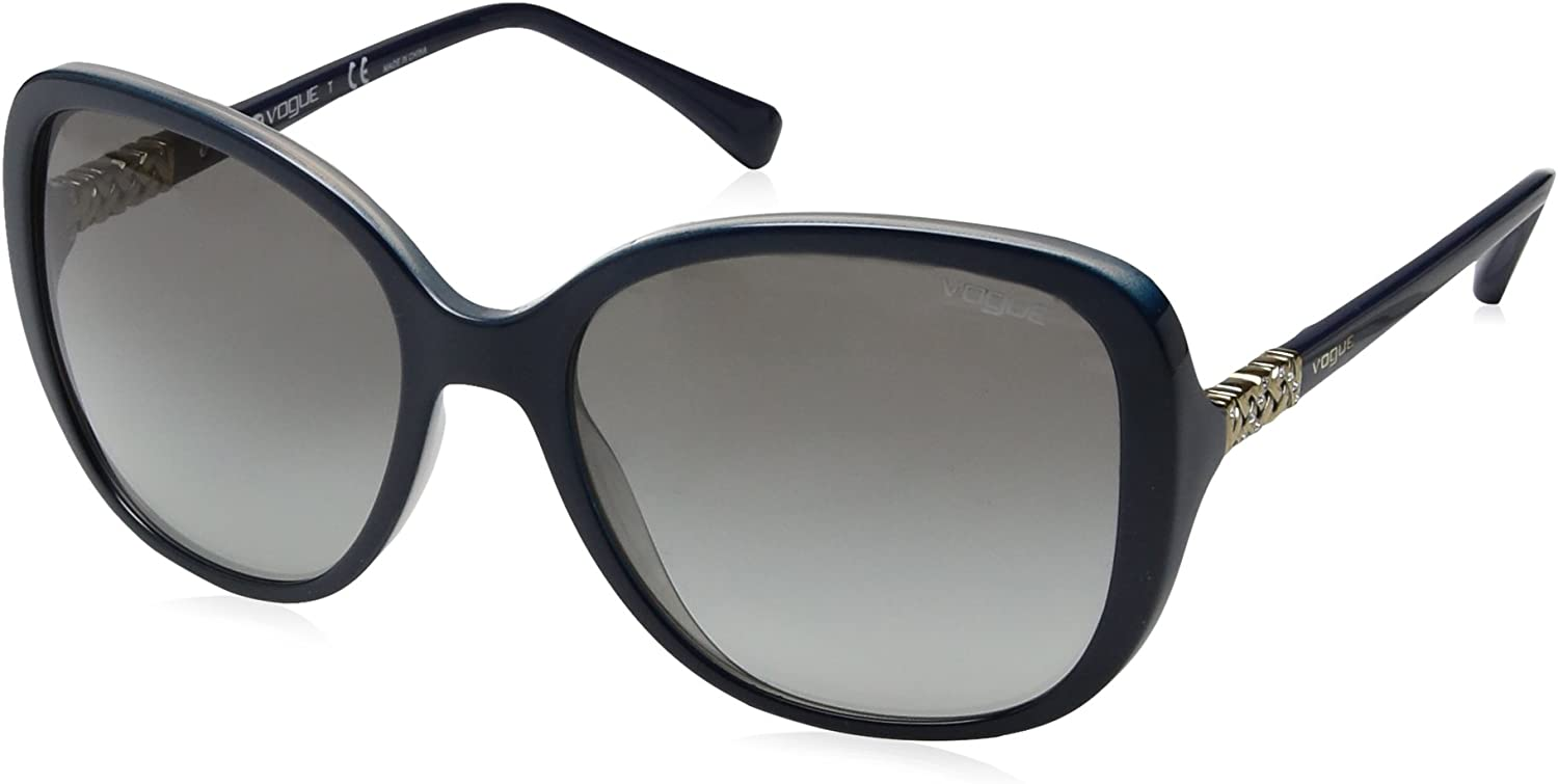 VOGUE Women's Injected Woman Sunglass Square, TOP Grey Opal bluee, 56 mm
