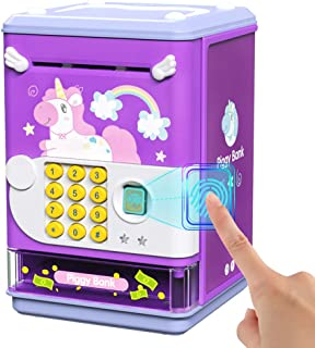 Deejoy Electronic Mini ATM Machine Piggy Bank with Personal Password & Imitative Fingerprint Unlocking-Money Savings Toy, ...