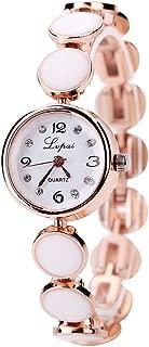 Mimgo Women's Bracelet Round Band Crystal Rhinestone Dial Wrist Watch (Gold&White)